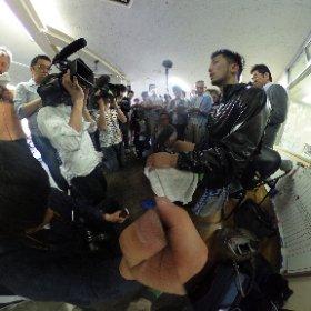 #村田諒太選手。公開練習に押し寄せる大勢の報道陣。村田選手、練習の合間に思わず「今日、人多いな…」 #theta360