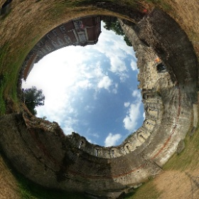 York Explore outside space exhibition by wall #theta360