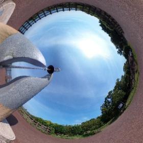 日向岬(宮崎県日向市)のクルスの海展望台。この鐘を鳴らすと幸せになれるとか! #theta360
