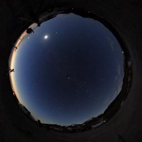 夕焼けと星空 2016/11/5大山天文同好会合宿にて  月と金星、火星が西の空を飾り、天の川も見え始めています。