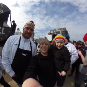 Brian Urlacer (former Chicago Bears player & NFL Defensive Player of the Year), Joel Gratcyk (Daddy's Grounded) & Wesley (Mr. Dude) smile for the camera @ the 2017 Chicago Special Olympics Polar Plunge in front of the Jonsonville Big Taste Grill. #theta360