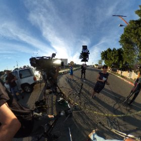 360 image of @KathyNBCLA live from the crash of a single engine plane in Pacoima. @NBCLA. #theta360