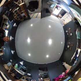 Photo from the studio... Yes it's messy. Only down side of 360° camera, can't hide anything!