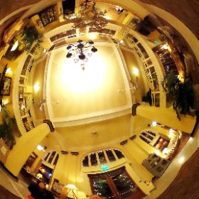 In the lobby of the Ashland Springs Hotel, Ashland, OR, for an anniversary dinner with Jim and Donna.   Built in 1925, it was formerly known as the Mark Antony Motor Hotel or the Lithia Springs Hotel.  (15 Nov 15) #theta360