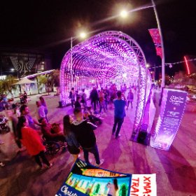 Tunnel of constellation  360 image 2019 Xmas Light Trails in Perth CBD FREE every night till December - virtual tour + official map, video, program in https://lnkd.in/gX_aiXu #XmasLightTrailsPerth #ChristmasLightTrailsPerth #Firefire3d #theta360 #theta360