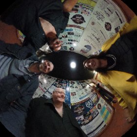 Roising and Frasier taking #360panorama picture with Liam and Ken of Bagatelle before the band gig in @MonroesLive Galway today #butterfly3d #theta360 #theta360uk