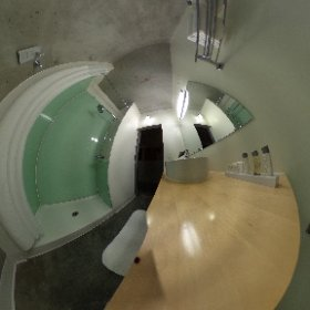 The bathroom in a 'Loft King' room at the NYLO Las Colinas #theta360