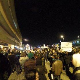 360 of anti trump outside parking garage