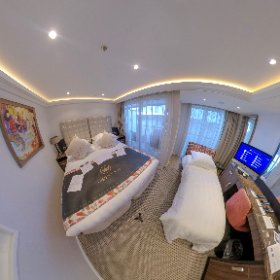 Our room (310, cat AA) aboard the #AmaWaterways #AmaLea is also a triple! Here we see it set up with the 3rd bed, which pulls out from the small vouch that sits in the French balcony area. #wlr310 #theta360