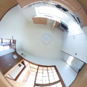 鹿児島市唐湊3丁目 一戸建て貸家のキッチン。5DKⓅ2台つき #theta360