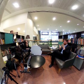 Becca @commapress interviewing Joe Parkinson @aspidistrabooks at #NCWGradFair @mcrwritingschl #360