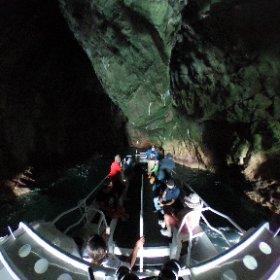 Our first 360 photo deep inside the Lair of Baudin 🤘#iledesphoques #lairofbaudin #rainbowcaves #mariaisland #eastcoastcruises #spiritofmaria #eastcoasttasmania #discovertasmania #tasmania #seeaustralia #australia #ocean #cave #nature #seals #theta360