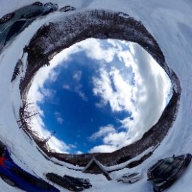 土合駅、雪の中 #theta360