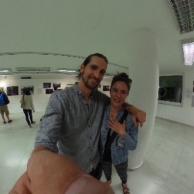 "Films from the Border of Europe professor at NYU Eleftheria Astrinaki and myself at the ""The Itinerary"" photo exhibit.  #theta360"