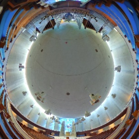 Temple Beth Zion on Delaware Aveune in Buffalo, NY  Architect Max Abramovitz 1964-1967 This 360 image is taken from the bench of the  Casavant Frères 48-rank, 4000-pipe organ.  www.TBZ.org #theta360