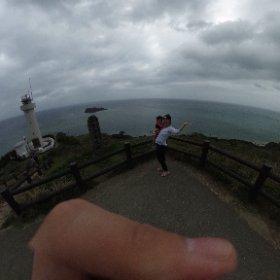 石垣島最北端、平久保崎灯台で家族写真!