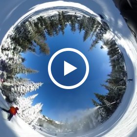 Skiing thru the trees at Squaw Valley Alpine Meadows near Tahoe City in California.
