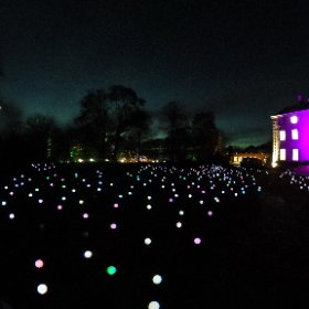CHRISTMAS AT THE BOTANICS: Bloom by Squidsoup, 1,000 multi-coloured changing spheres on stalks creating a Crystal Lawn outside Inverleith House at The Royal Botanical Garden Edinburgh until Dec 30, 2017. #theta360 #theta360uk