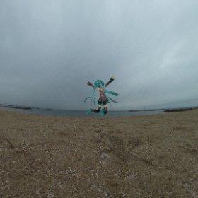 天気は良くないけどお陰です砂浜独り占めです。  #miku360 #theta360