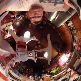 Typical Christmas Eve, mounting a Ricoh Theta S to a drone. Up up and hopefully not away.  #theta360