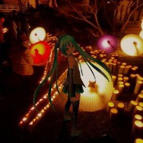 山鹿灯籠浪漫・百華百彩  竹灯籠と和傘を使った幻想的なイベント #miku360 #theta360
