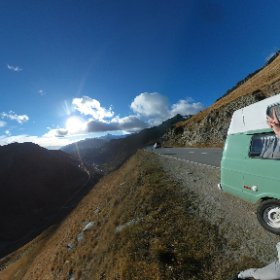 Pistachio Green at the top of the famous Furka Pass from James Bond's 'Goldfinger' #Vanlife