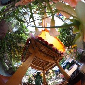 お釈迦様に甘茶をかけてあげました。きれいな花に囲まれたところでパノラマ撮影しまTHETA。