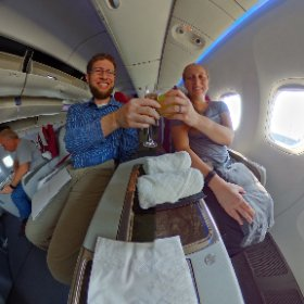 Cheers to the next 15 hours on #Qatar 777-300ER business class! #theta360