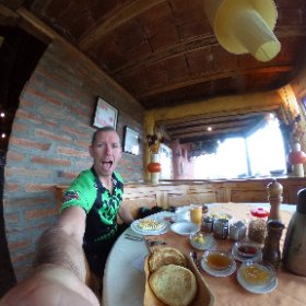 After not eating since leaving the states, camping in the rain & having some difficulties with my MSR fuel bottle. I found Thi place Tambopaxi BREAKFAST with an amazing view of Cotopaxi #theta360