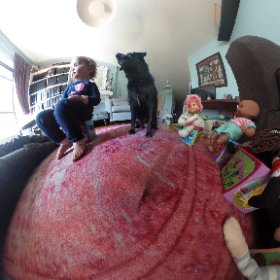 Cypress , Tallulah and I having a tea party with the crew. It's my first 360 picture! spin it around, zoom in a different out. The photo is mapped to a sphere so you can see the whole world. Can't wait for more experiments.