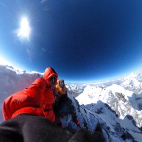 On the summit of Lhotse at 7am on May 22. The other 'small' hill is Everest! #theta360 #theta360uk