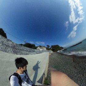 碁石海岸防波堤 #theta360