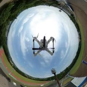 佐野日大高校スタジアム30。空撮VR。 #theta360