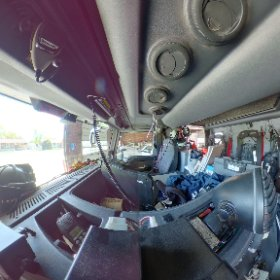 Inside view of a fire truck.  Theta V has a noticeable black stitching line.  2nd unit, same issue but even more pronounce. #theta360