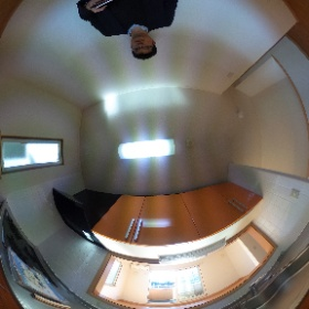 世田谷区等々力の「等々力ハウス」3LDKテラスハウスのシステムキッチンパノラマ写真です。大型で使いやすいです。物件詳細はこちらhttp://www.futabafudousan.com/bukken/g/syousai/746dat.html #theta360