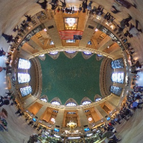 NYC Grand Central Terminal, the busiest train station in the country.  Hope to see it like this again soon!  Stay strong America!!! #theta360