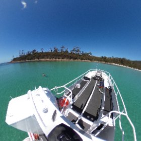 "When everyone ""jumps ship"" to have a swim!  What a beach, what a place!! #theta360"