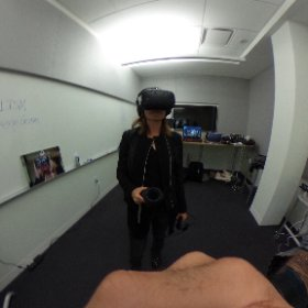 . @USCAnnenberg #JOVRNALISM students playing with HTC Vive and Oculus Rift with Touch via #theta360