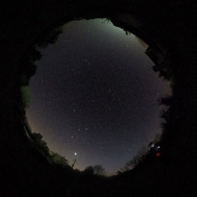 The sky tonight from #Salcombe Regis. Venus is the bright object setting in the west, with Orion to the left. #theta360