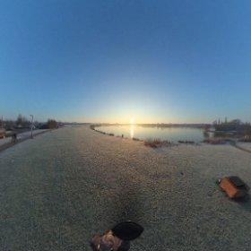 frozen lake at dawn in Milton Keynes UK #lifein360 #theta360 #theta360uk