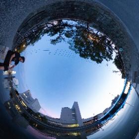 出張先の徳島市新町川水際公園にて #theta360