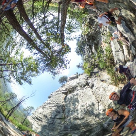 """Students in Wake Forest University's """"Wilderness to Wake"""" pre-college program visited Pilot Mountain for a morning of rock climbing."""