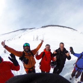Sharing a great powder day with our new friends from Argentina: Jose, Hugo and Nicolas. Snowboarders from south of the Equator. #theta360