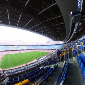 Touring Camp Nou,, the stadium (and museum) for #FCBBarcelona Just waiting for the other 94,997 fans to arrive. #theta360