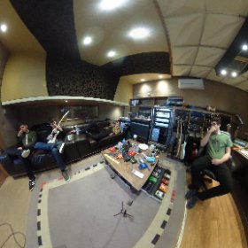 ROCKFIELD STUDIOS: The Sherlocks with producer Gav Monaghan recording top 10 chart hit album Live For The Moment at iconic studio in Monmouth, Wales, January 2017. #theta360 #theta360uk