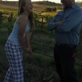 Brontë and I. Evening walk in the vineyard