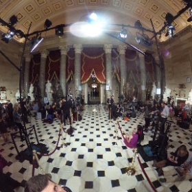 A 360 view of reporters listening to Pres Trump's #jointaddress in Statuary Hall just outside the House chamber: