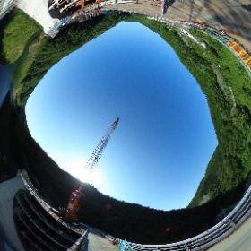 #浜田ダム の天端から #ミクシータ。  #ダム #ダム巡り #miku360 #theta360