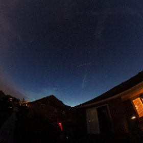 Captured the ISS tonight with my 360 degree camera. The ISS is the streak over the house near the big dipper. #theta360