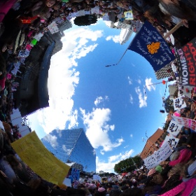 The final 360 image from #WomensMarchLA The energy was unlike any other march - no negativity - the signs pretty much tell the story. #popup360newsroom
